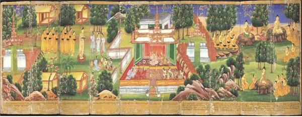 부처님의 일생을 두꺼운 종이에 그린 그림(버마)