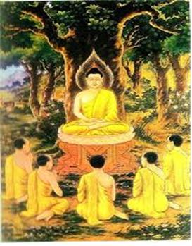 부처님이 사슴동산(녹야원)에서 5비구에게 최초의 설법을 하고 있는 장면.