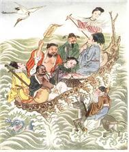 바다를 건너고 있는 중국의 팔선.
