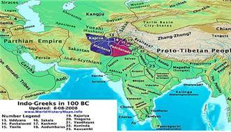 인도-그리스영토 기원전 1세기(검붉은 색 부분)