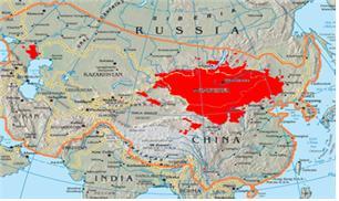 13세기 몽골제국의 판도와 현재의 몽골(붉은 색)