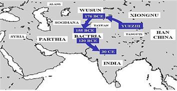 월지(쿠샨)족의 기원전 176〜기원후30)년 경 까지의이동경로.
