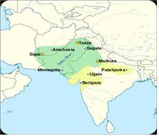 녹색 부분이 스키타이 영역이며 노란색 부분은 인도까지 확장한 영토이다.