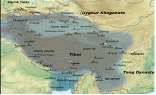 8세기 말 티베트(토번) 왕조의 최 전성기 영토.