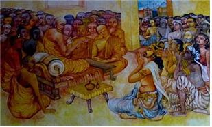 아소카 대왕이 제 3차 경전결집을 주도하고 있는 목칼리푸타 티싸 대 장로스님에게 합장하여 공경을 표하고 있다.