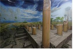 파트나 박물관에 보관되어 있는 80개의 기둥.제3차 결집이 열렸던 대회의장은 80개의 기둥이사용된 큰 건물이었다고 한다.