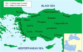 고대 소아시아(아나톨리아)의 지방들 지도: 이오니아(Ionia, Ιωνία)는 왼쪽 가운데에 위치 한다. 오늘날 터키 지역.