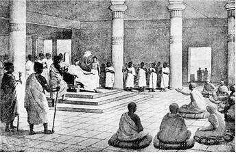 밀린다 왕이 나가세나 비구에게 불교철학에 대한 많은 질문을 하고 있다.