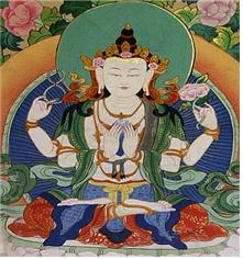 네 개의 손을 가진 티베트 스타일의아바로키테스바라.