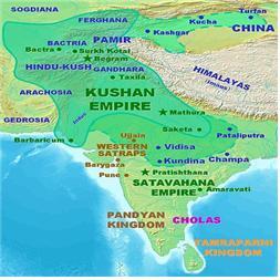 카니슈카 대왕 때의 쿠샨제국의 영토 지도