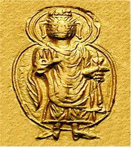 카니슈카 대왕의 주화(금화)에 묘사된 부처님 형상