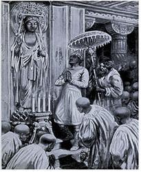 카니슈카 대왕의 대승불교 후원 묘사.