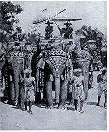 카니슈카 대왕이 코끼리를 타고 불상에 경배하는 상상도