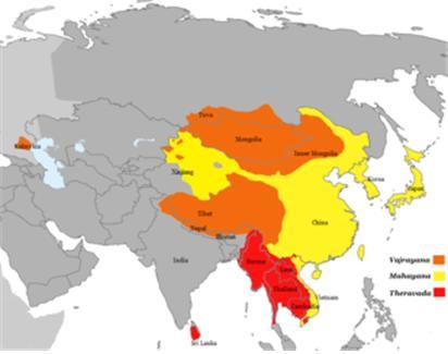 불교3대 부파; 적색은 상좌부(소승), 주황색은 바즈라야나(금강승:밀교), 노란색은 마하야나(대승불교).