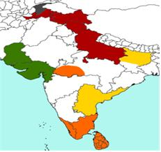 붉은 색(스라바스티와다): 남인도와 중부 인도, 스리랑카, 오렌지색(상좌부), 대중부(황색), 독자부(녹색), 회색(법장부).